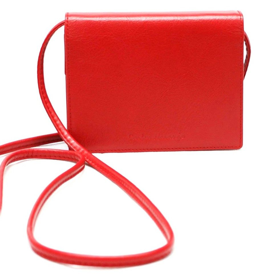 mini bolso de piel rojo- naranjo ubrique