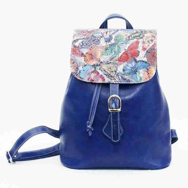 mochila de piel trip mariposa azul- naranjo ubrique